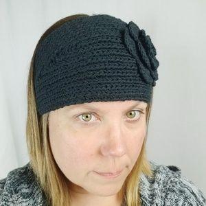 Black knit earmuffs/ headband hair band